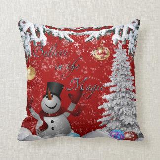 Snowman Christmas tree red white believe snow Throw Pillow