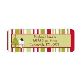 Snowman Christmas Tree Return Address Label