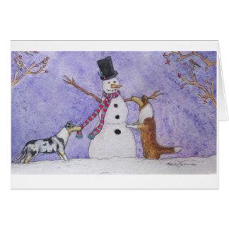Snowman Collies Card
