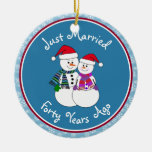 Snowman Couple Anniversary Gifts 40th-Christmas Round Ceramic Decoration
