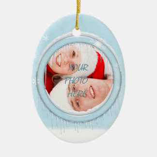 Snowman Couple Picture Ornament