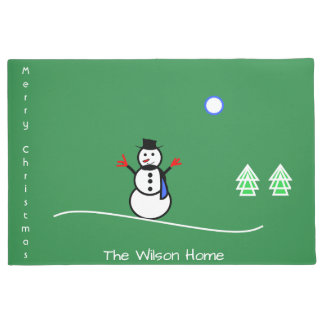 Snowman Design Door Mat Merry Christmas