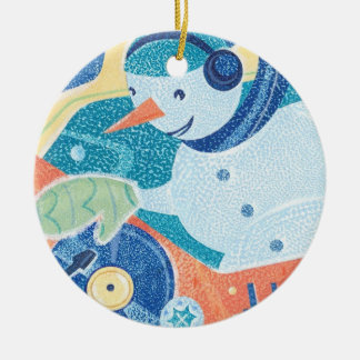 Snowman DJ Holiday Dance Party Ceramic Ornament