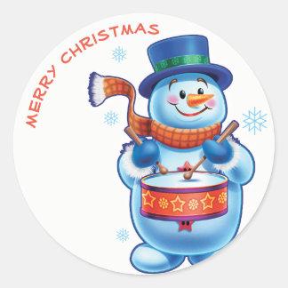 Snowman drummer Christmas label sticker