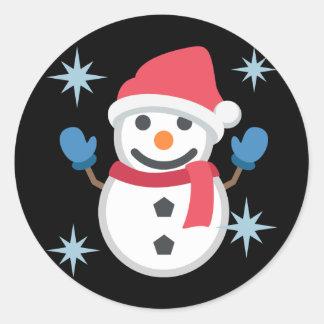 Snowman Emoji Classic Round Sticker