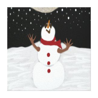 Snowman Enjoying The Moon Canvas Prints