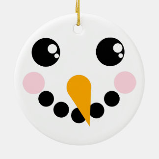 Snowman Face Round Ceramic Decoration