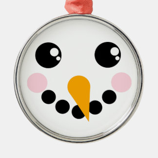 Snowman Face Silver-Colored Round Decoration