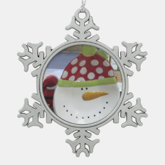 Snowman Face Snowflake Ornament Pewter
