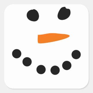 Snowman Face Square Sticker