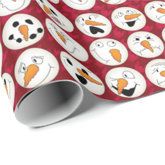 Snowman Faces Wrapping Paper