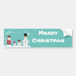 snowman family bumper sticker