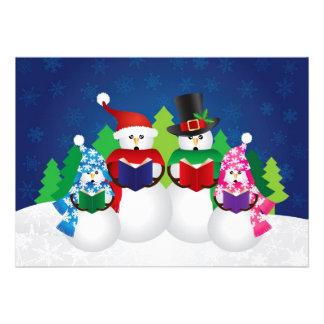 Snowman Family Christmas Carolers in Snow Scene Card