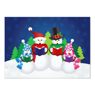 Snowman Family Christmas Carolers in Snow Scene Card