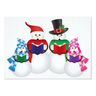 Snowman Family Christmas Carolers Invitation Card