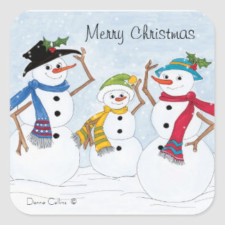 Snowman family Christmas sticker