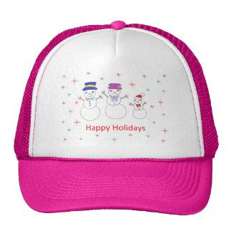 Snowman Family Happy Holidays Cap