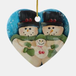 Snowman Family- Heart Shaped Christmas Ornament