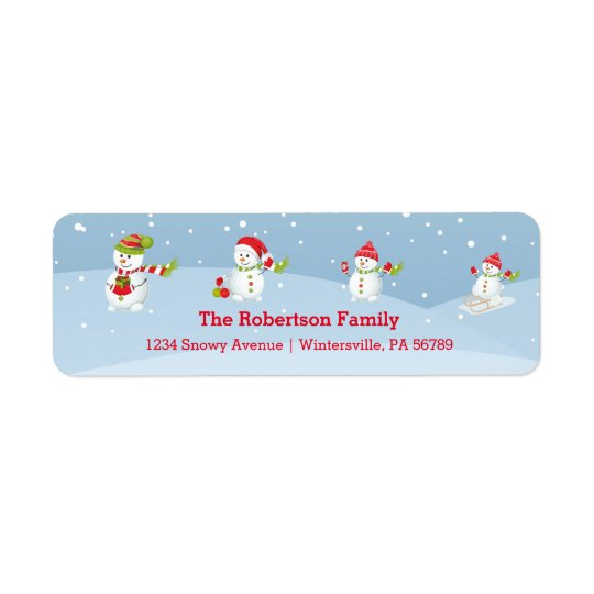 Snowman Family | Holiday Return Address Label