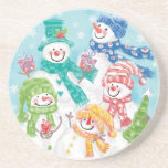 Snowman Family in the Snow Ready for Christmas Beverage Coasters