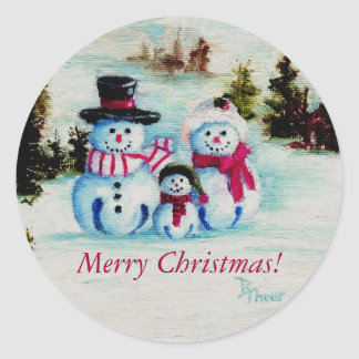 Snowman Family Merry Christmas Sticker
