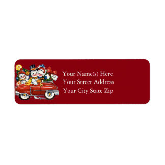 Snowman Family Vintage Christmas Return Address Label