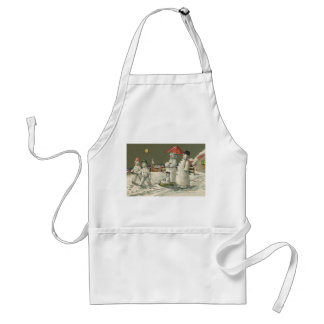 Snowman Family Winter Playing Snow Church Standard Apron