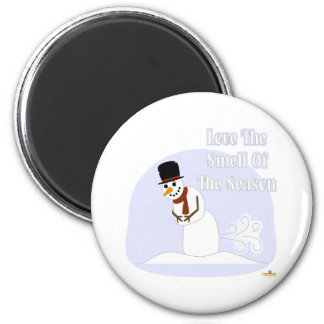 Snowman Farting Love The Smell Of The Season Blue Fridge Magnet