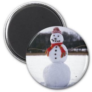 Snowman Field 6 Cm Round Magnet