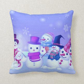 Snowman Friends Throw Pillow