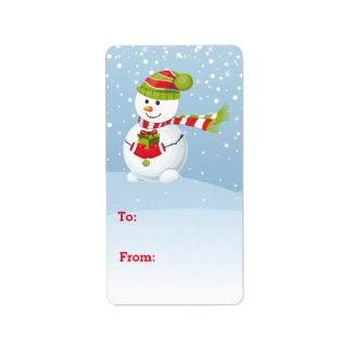 Snowman Gift Tag Sticker Address Label