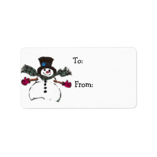 Snowman Gift Tags for Christmas Presents Address Label