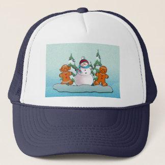 SNOWMAN & GINGERBREAD KIDS by SHARON SHARPE Trucker Hat