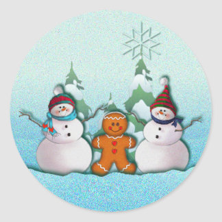 SNOWMAN & GINGERBREAD MAN by SHARON SHARPE Classic Round Sticker