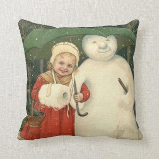 Snowman Girl Umbrella Snowfall Cushion