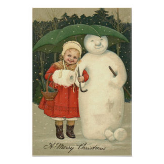 Snowman Girl Umbrella Snowfall Poster