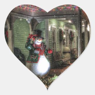 Snowman Greetings Heart Sticker