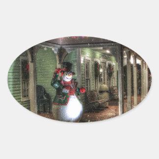 Snowman Greetings Oval Sticker