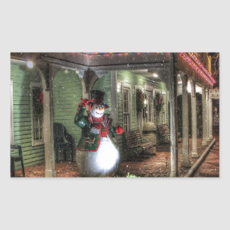 Snowman Greetings Rectangular Sticker