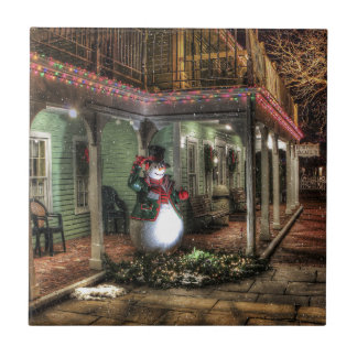 Snowman Greetings Small Square Tile