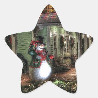 Snowman Greetings Star Sticker