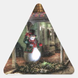 Snowman Greetings Triangle Sticker