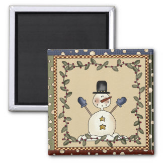 Snowman Greets Holiday Magnet