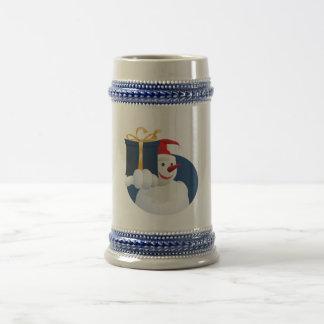 Snowman hands over gift... beer stein