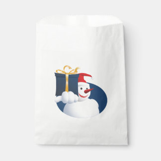 Snowman hands over gift... favour bag