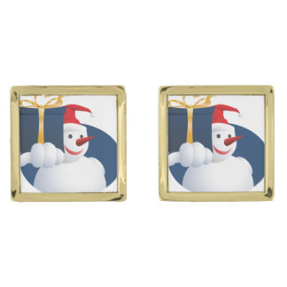 Snowman hands over gift... gold finish cufflinks