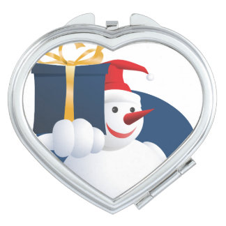 Snowman hands over gift... travel mirror