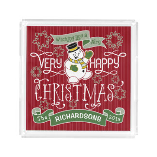 Snowman Happy Christmas Typography Custom Banner Acrylic Tray