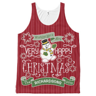 Snowman Happy Christmas Typography Custom Banner All-Over Print Singlet