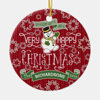 Snowman Happy Christmas Typography Custom Banner Ceramic Ornament